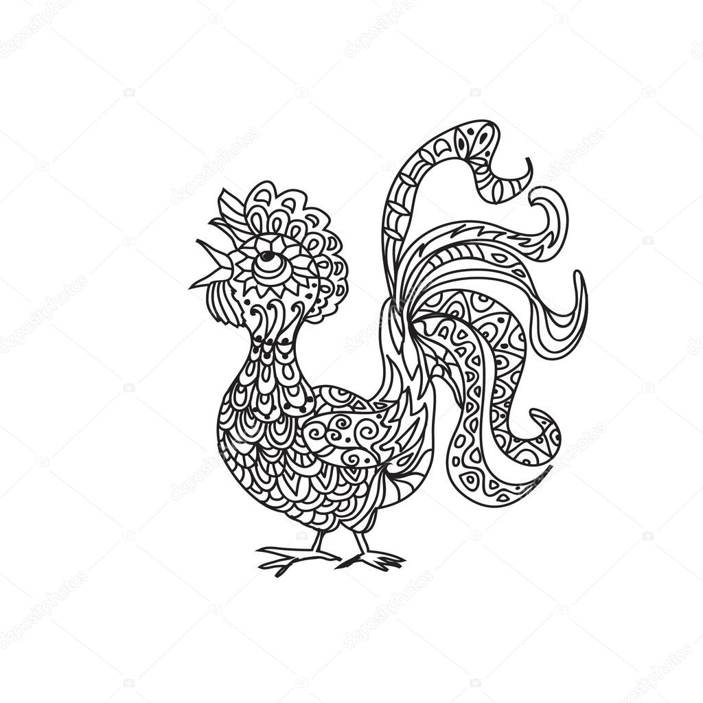 Rooster zentangle coloring page — Stock Photo © Nuarevik