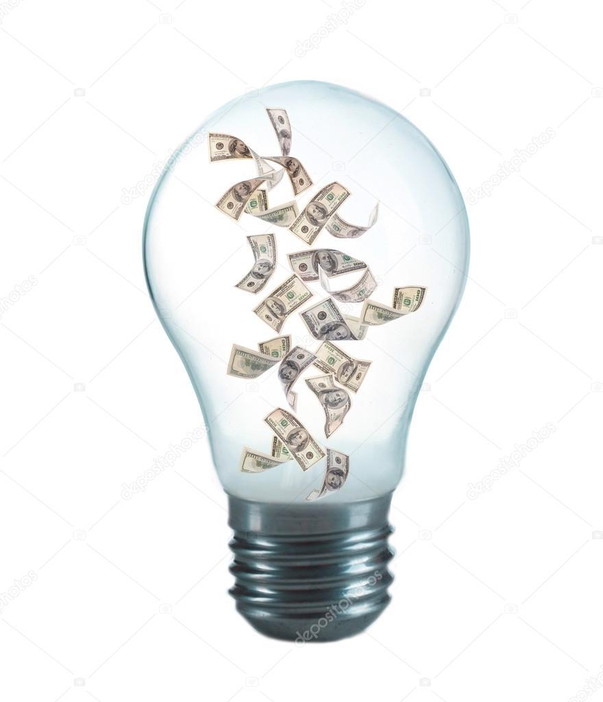 inside light bulb stock