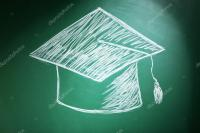 Cappello di laurea disegno sulla lavagna  Foto Stock