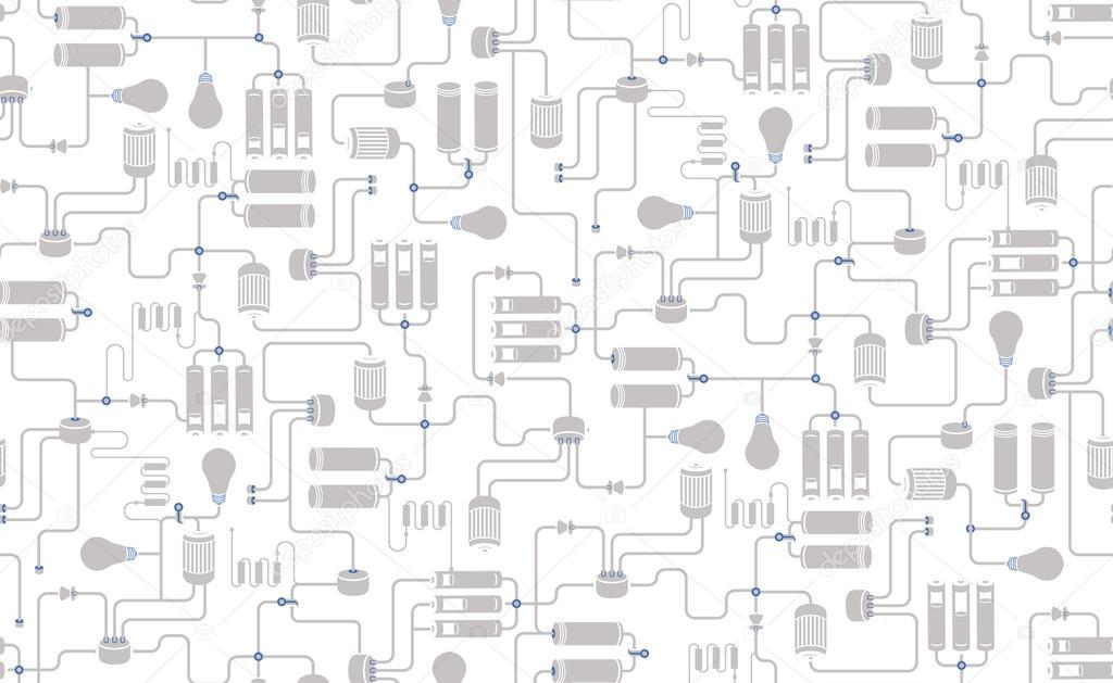Бесшовный фон электрической схемы — Векторное изображение