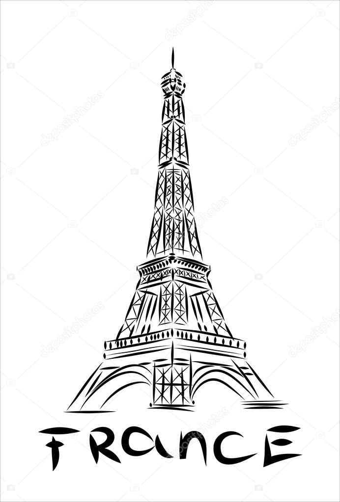 Hand drawn sketch of Eiffel tower — Stock Vector © mitay20