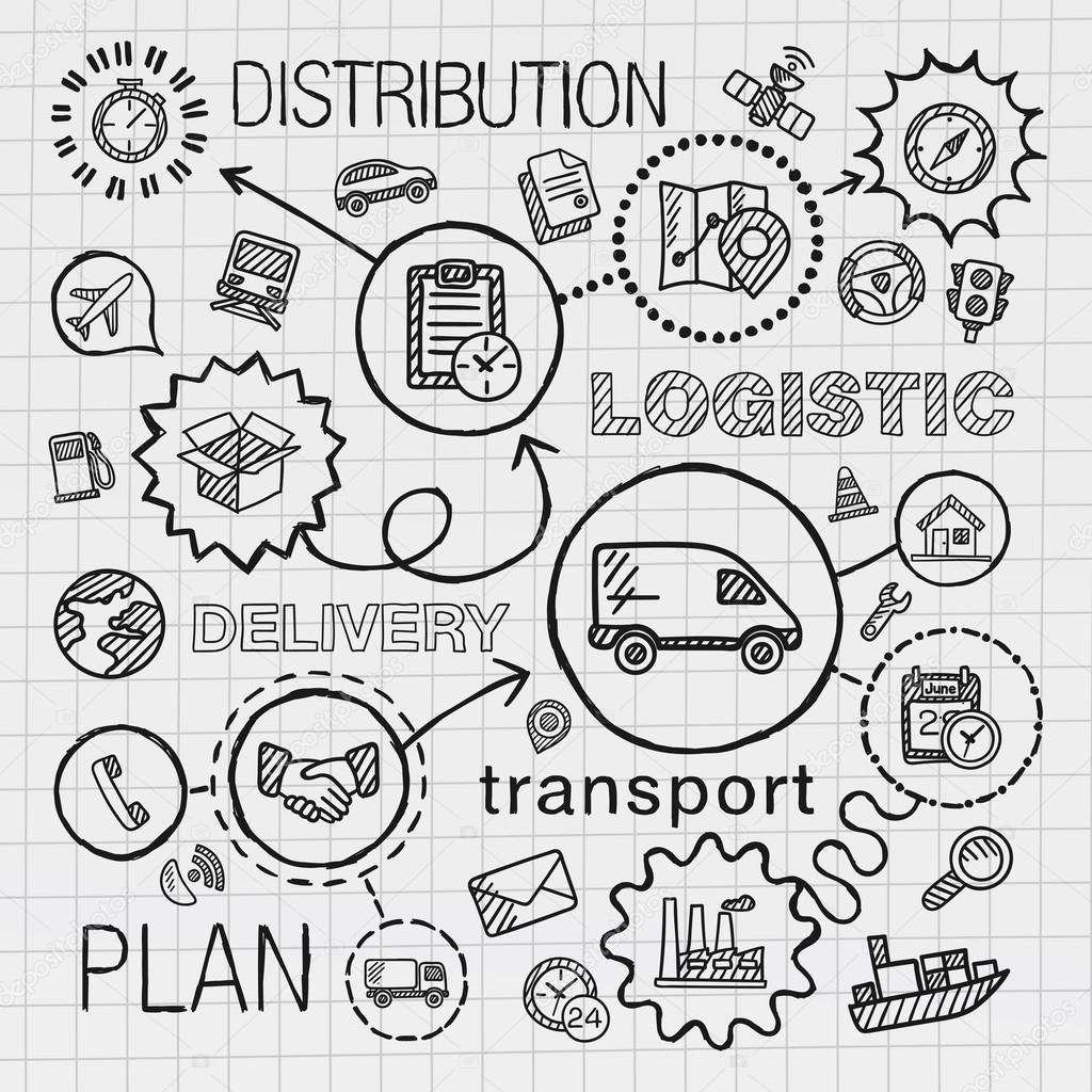 Logistique part dessiner icônes intégrés — Image
