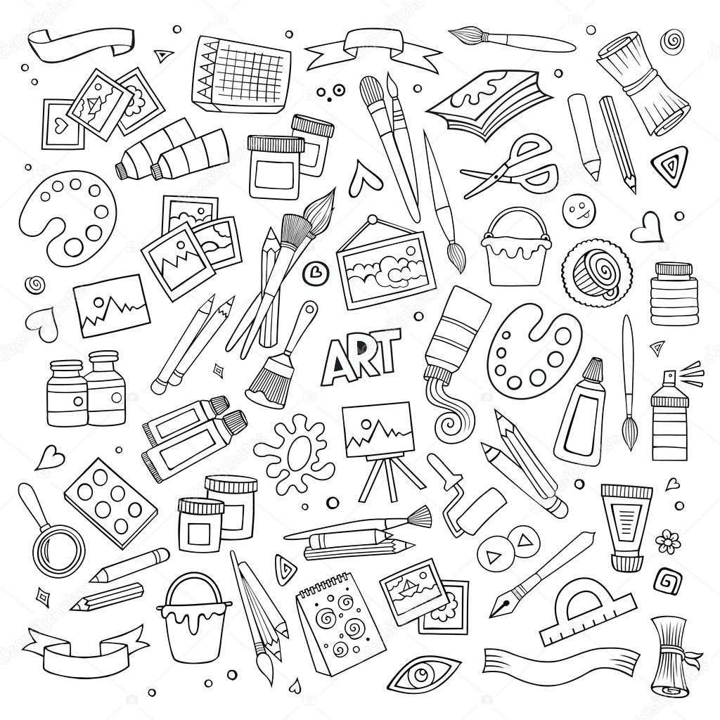 Art And Craft Vector Symbols And Objects Stock Vector C 3dsparrow 75740871