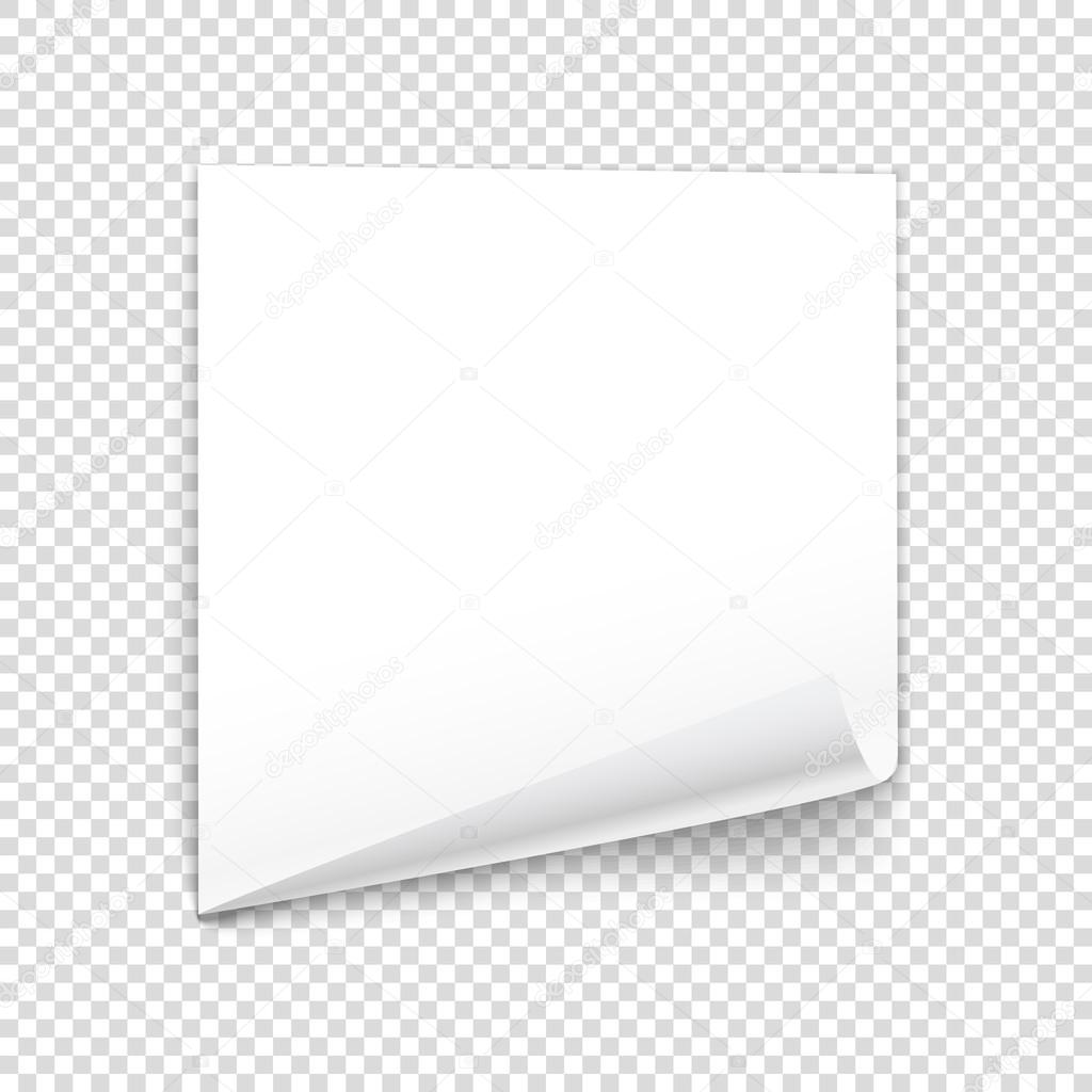Bended Paper Sheet Isolated On Transparent Background