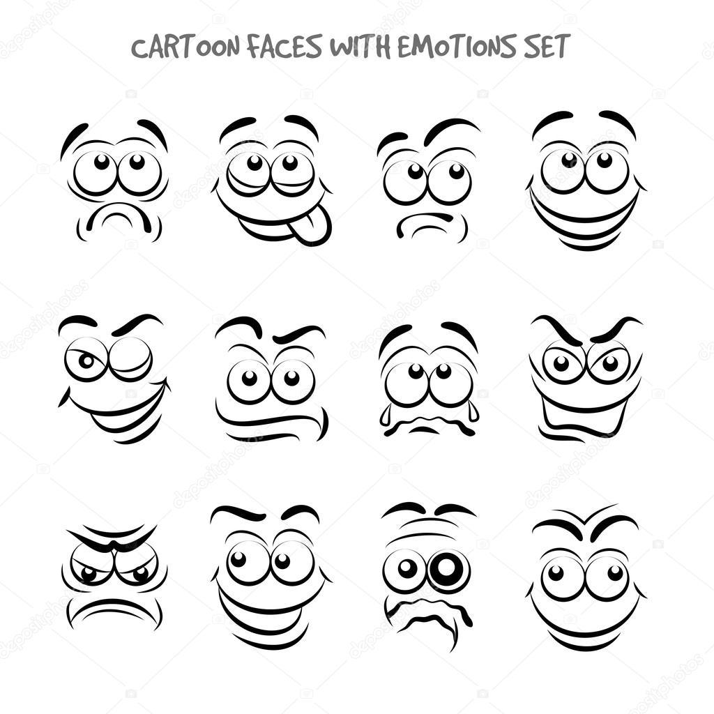 Cartoon Gezichten Met Emoties Set