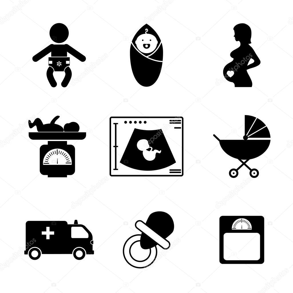 Zwangerschap en geboorte pictogrammen — Stockvector © MSSA
