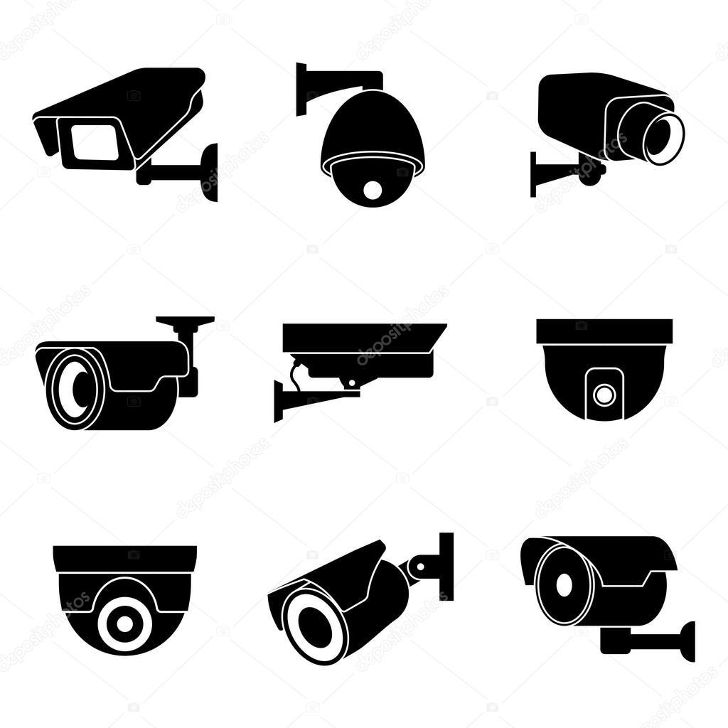 Beveiliging Bewakingscamera Cctv Vector Icons Set