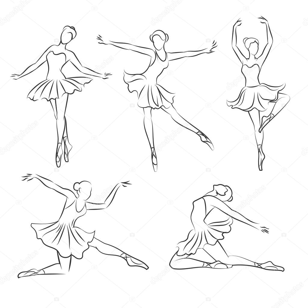 Beautiful Ballerina Hand Drawn Vector
