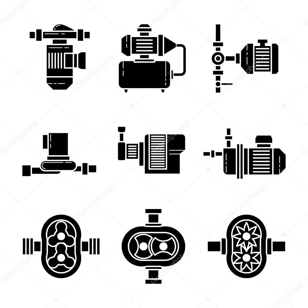 Water Pump Vector Black Icons Sets