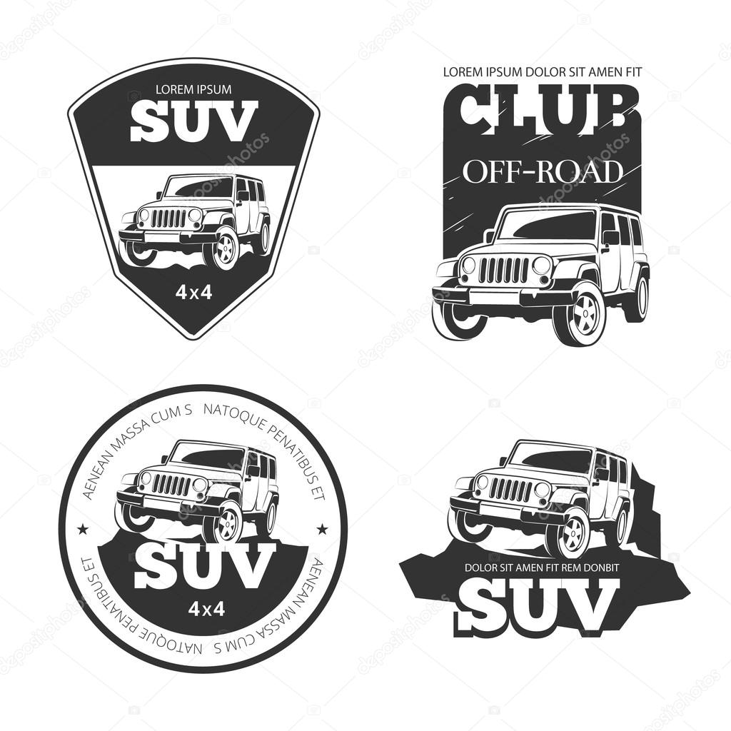 Suv Car Vector Emblems Labels And Logos