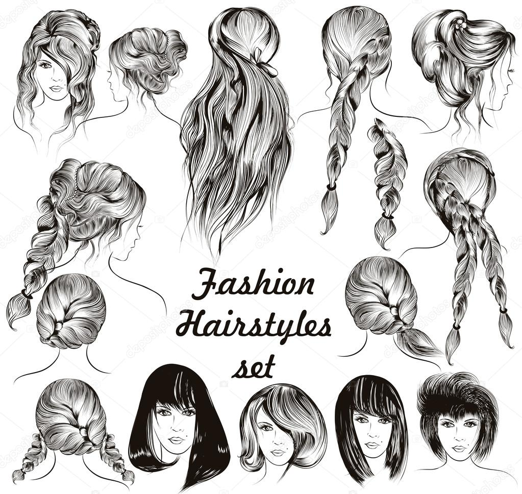 Fashion illustration different female hairstyles set in