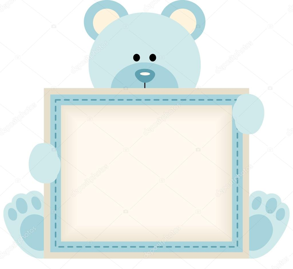 Cute Teddy Bear Holding Blank Sign For Baby Boy