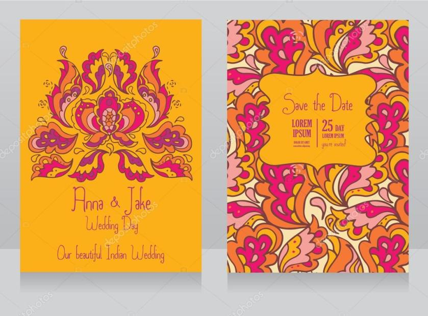 Template For Wedding Invitation In Indian Style Stock Vector 75313381