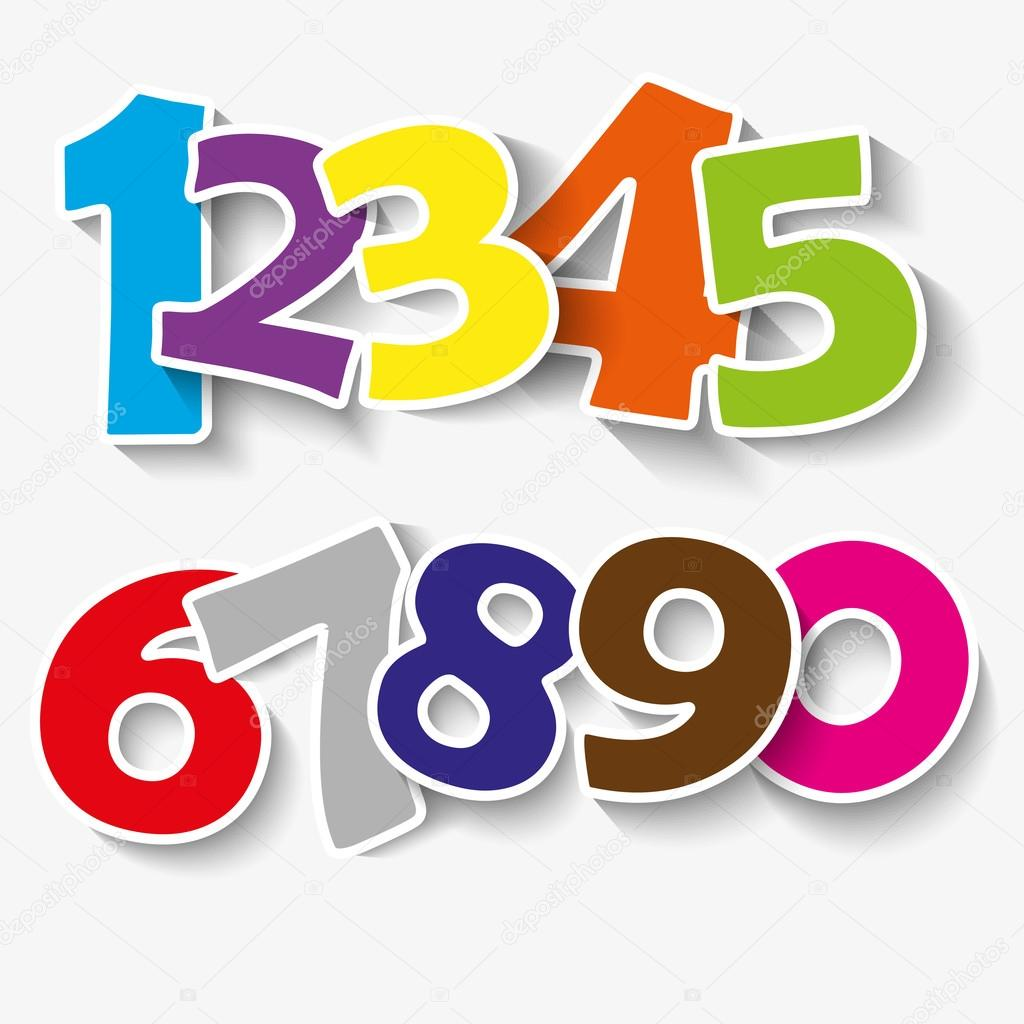 Set Of Colorful Ribbon Font Numbers 0 1 2 3 4 5 6 7 8 9 0