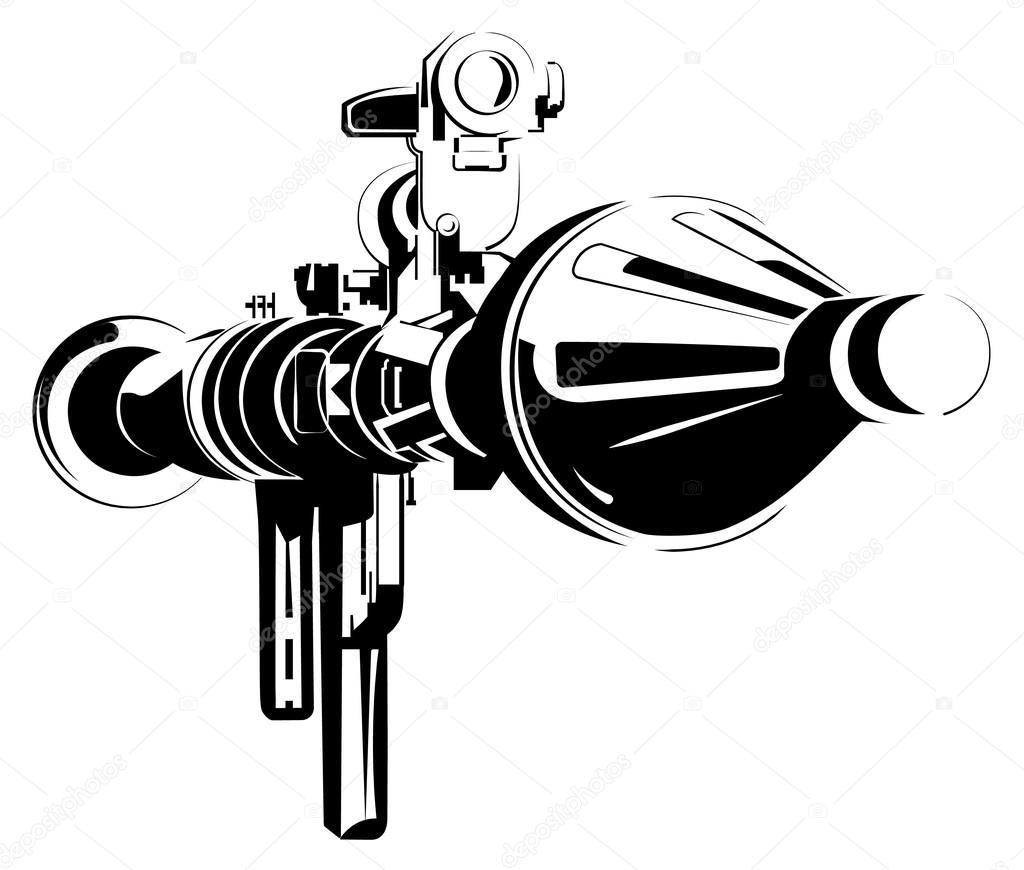 Anti-tank bazooka color rpg isolated on white — Stock