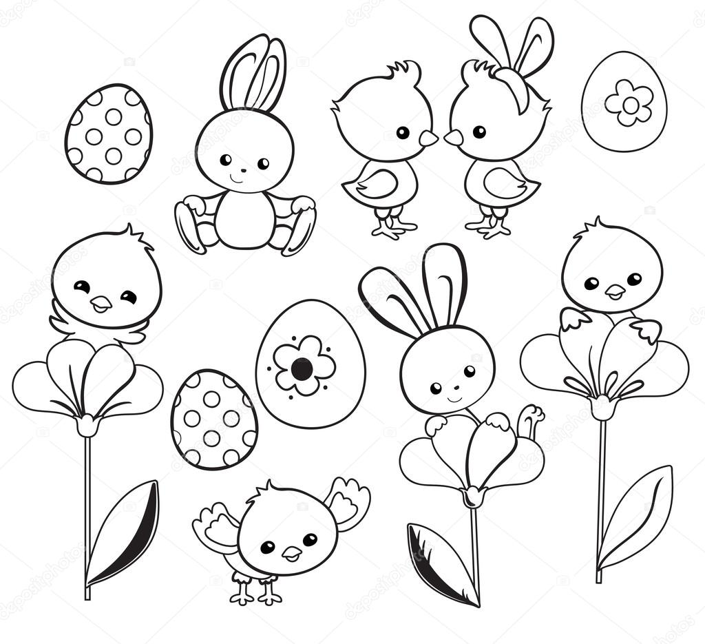 Happy Easter holiday illustration with cute chicken, bunny
