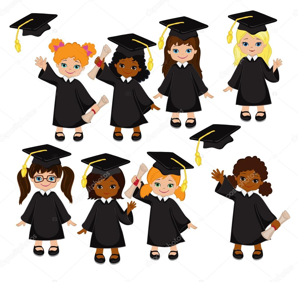 Girls Set Of Children In A Graduation Gown And