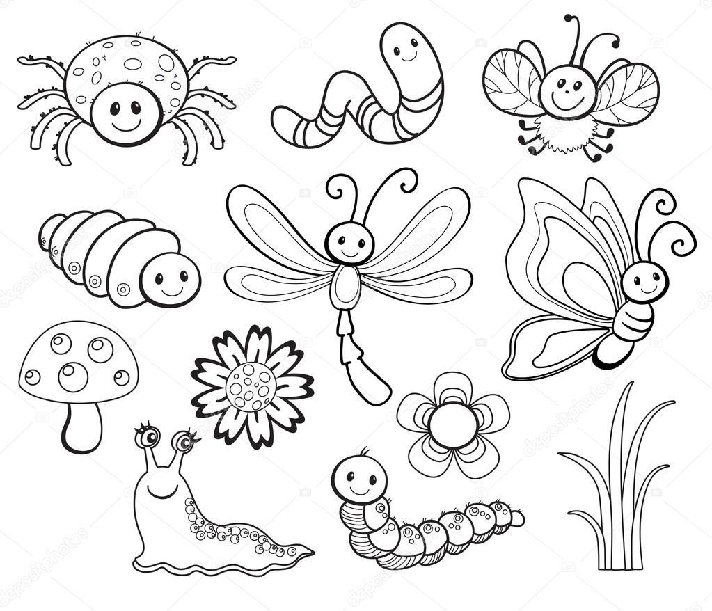 Vector Set of Cute Cartoon Bug Line Art — Stock Vector