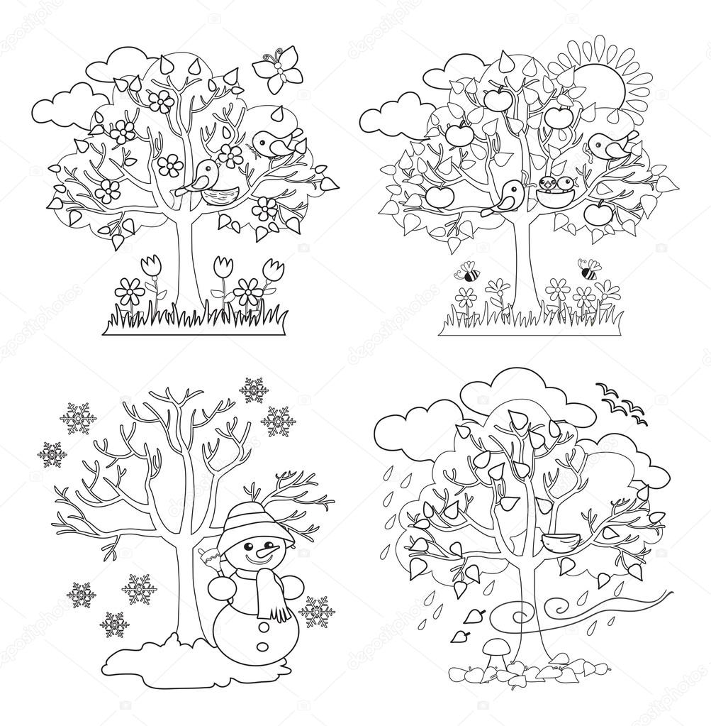 Four Seasons Trees Clipart and Vector with Spring, Summer