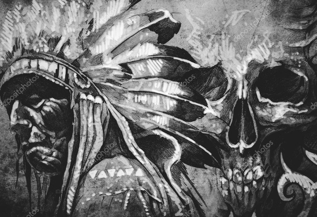Imágenes Dibujo Indio Americano Dibujo De Tatuaje De Guerrero