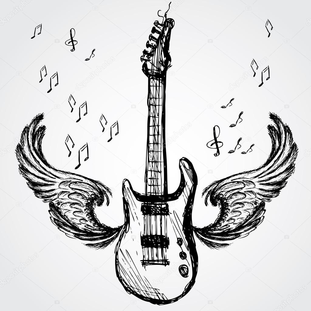 Rockgitarre Und Flugel