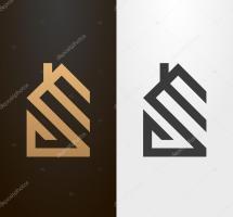 Simple Line House Logo Icon. Stock Vector Zubroffka
