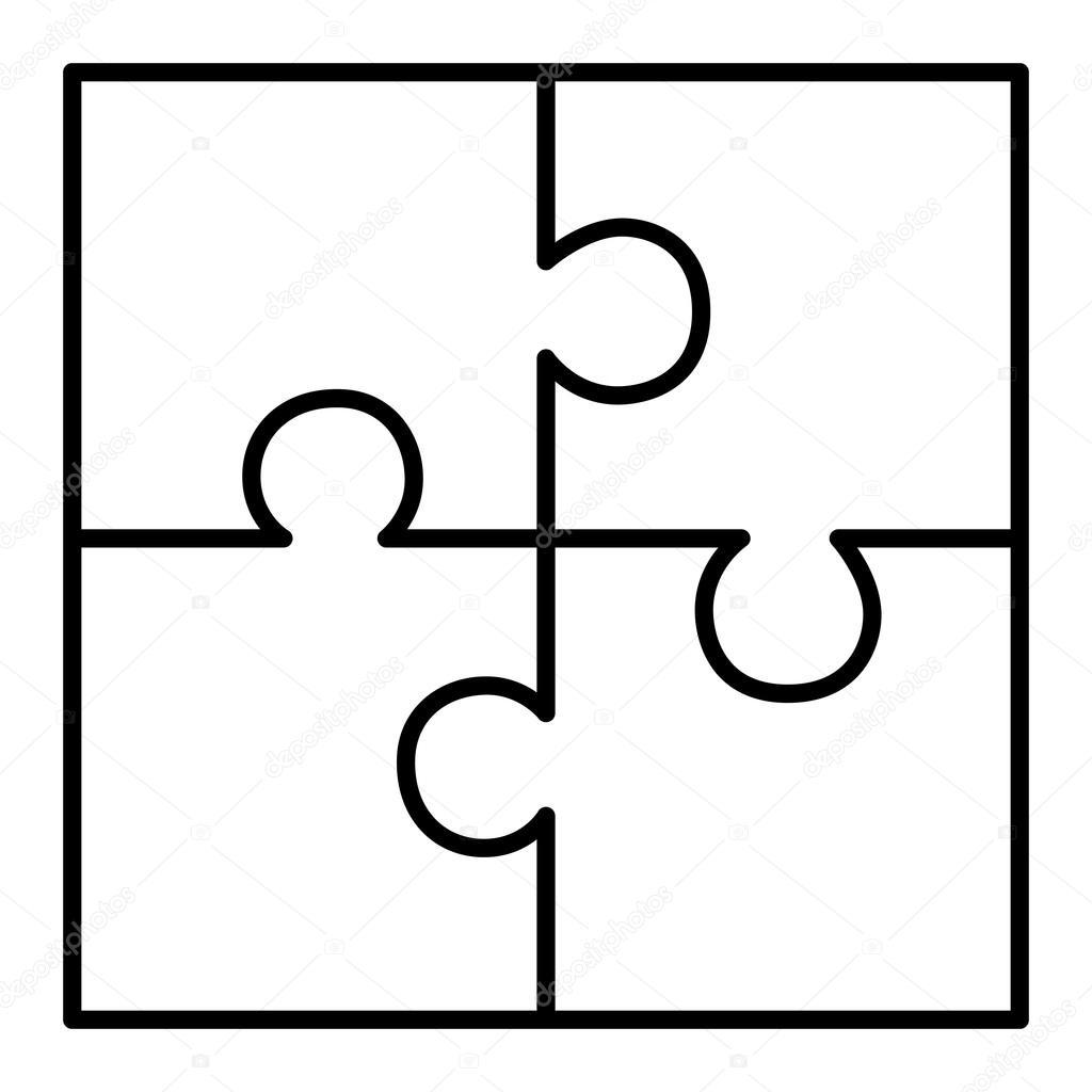 Diagrama de quebra-cabeça de quatro peças — Vetores de