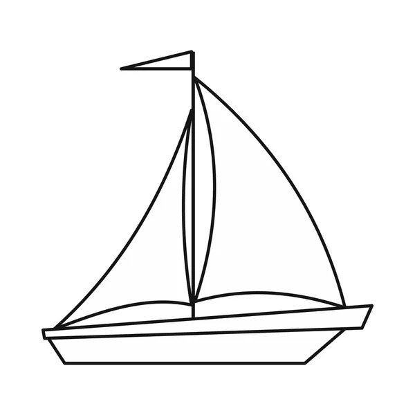 Boat with sails icon, outline style — Stock Vector