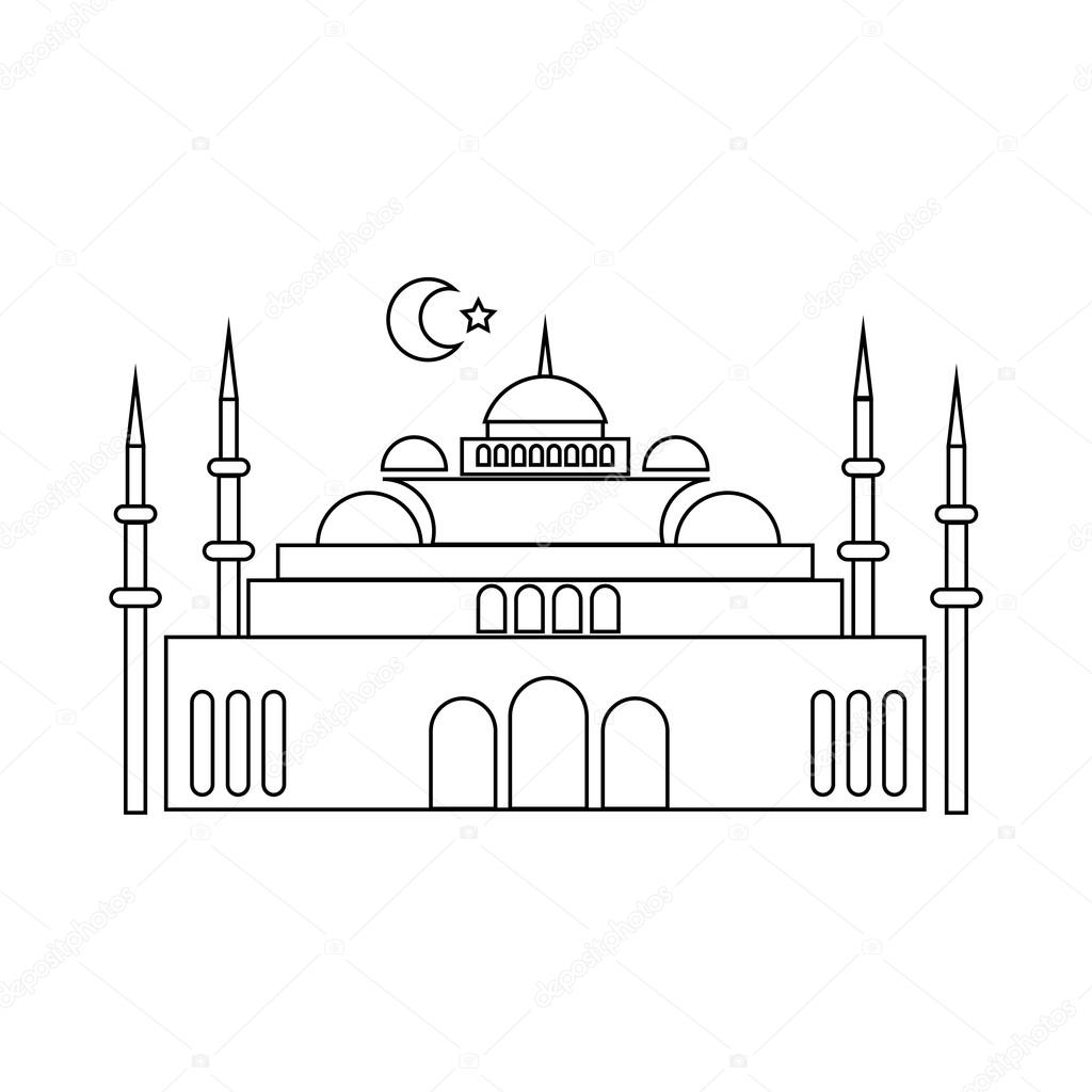 Mosque Icon In Outline Style