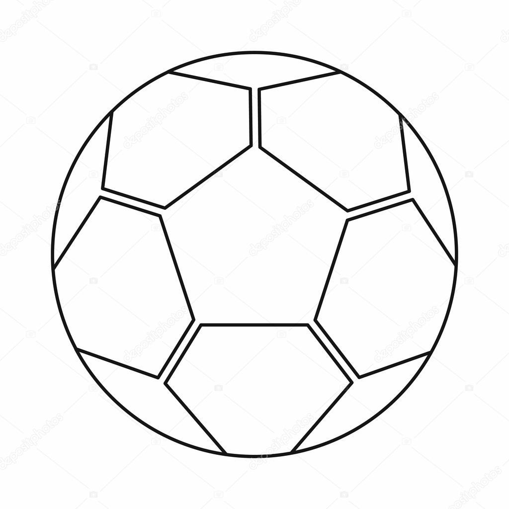 Fußball-Kugel-Ikone, Umriss-Stil — Stockvektor