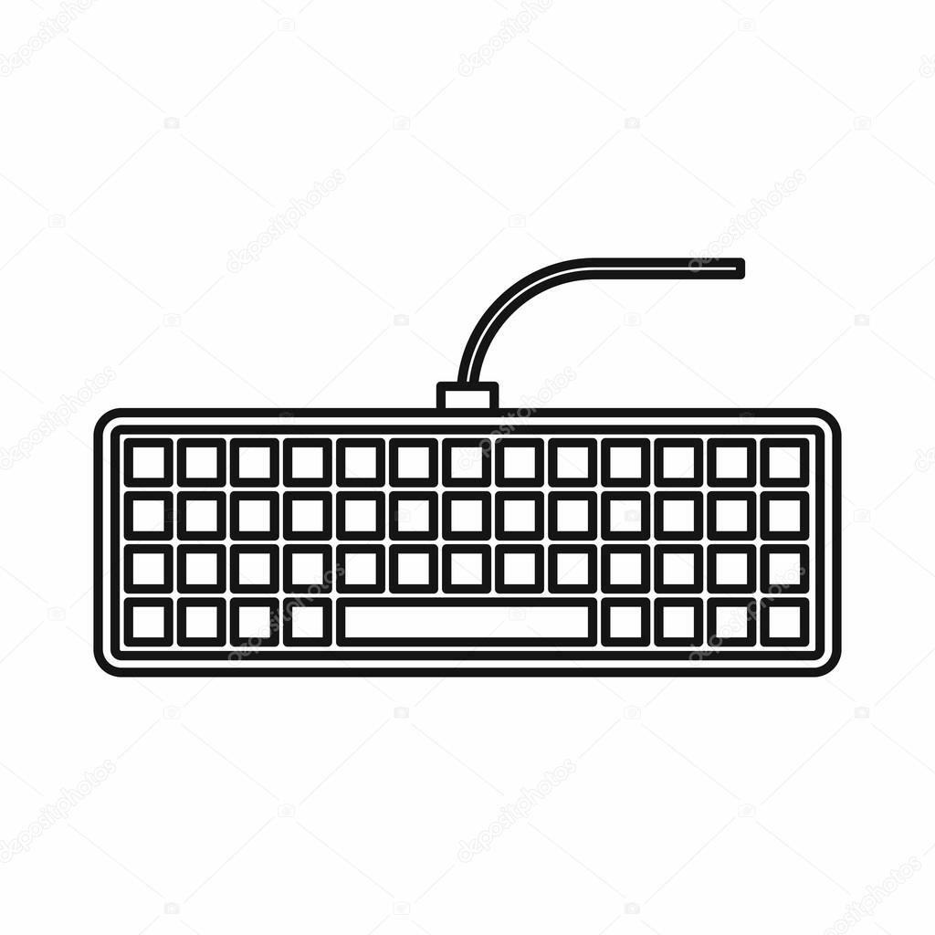 Black Computer Keyboard Icon Outline Style
