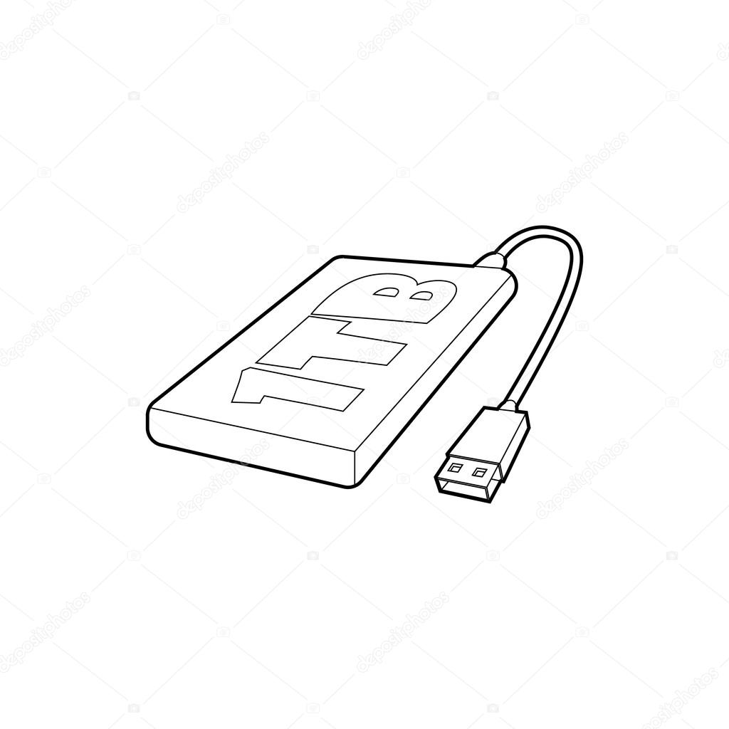 External hard drive 1tb icon, outline style — Stock Vector