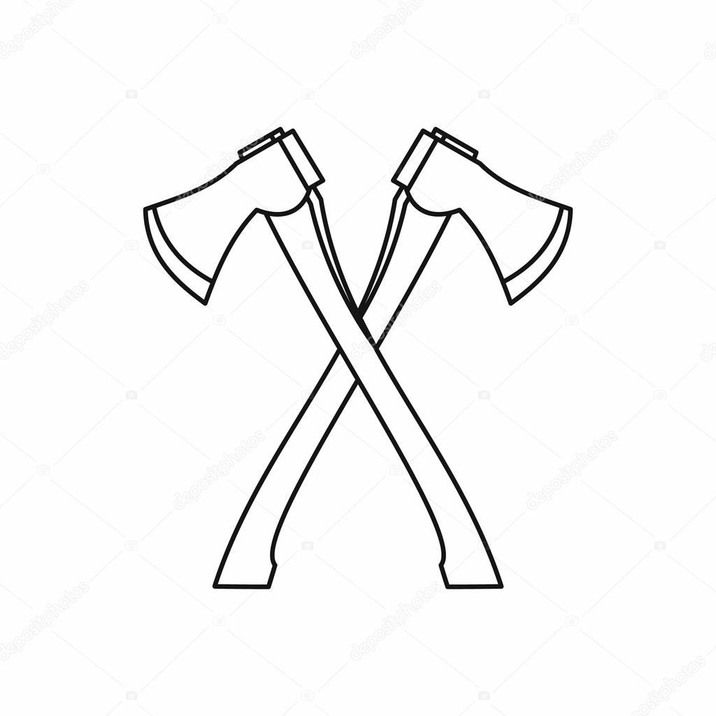 Lumberjack Axes Crossed Icon Outline Style