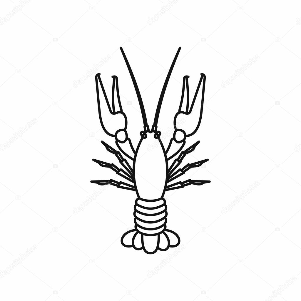 Boiled Crawfish Icon Outline Style