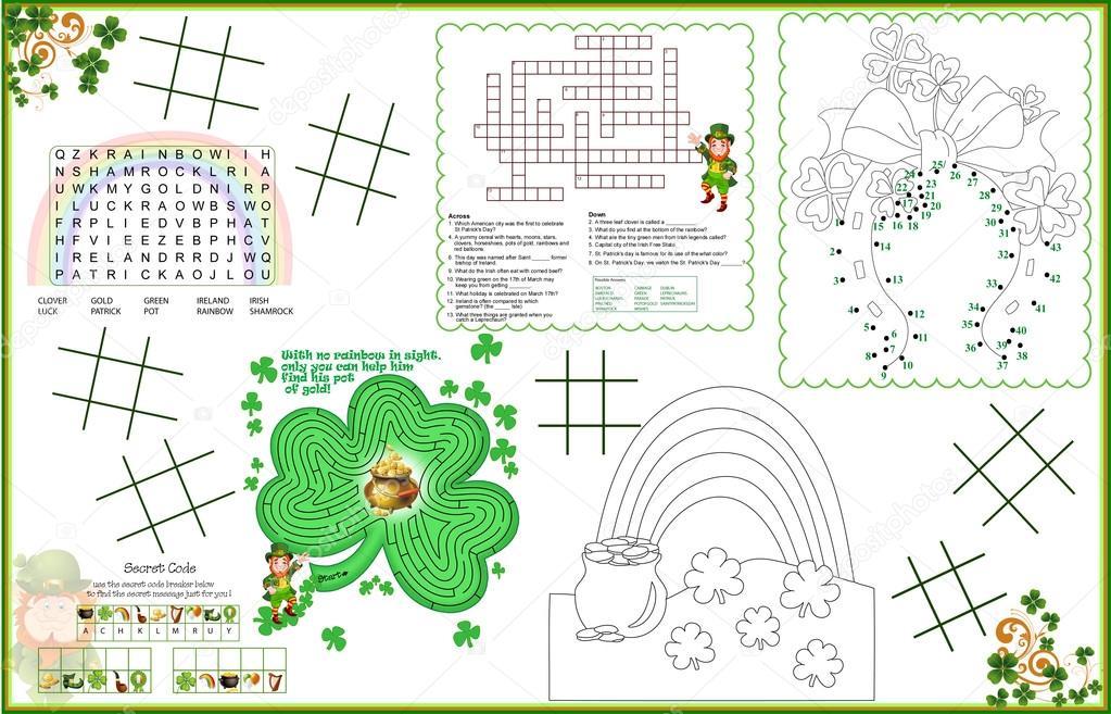 Jour Imprimable Activit Feuille De Placemat St Patrick 2