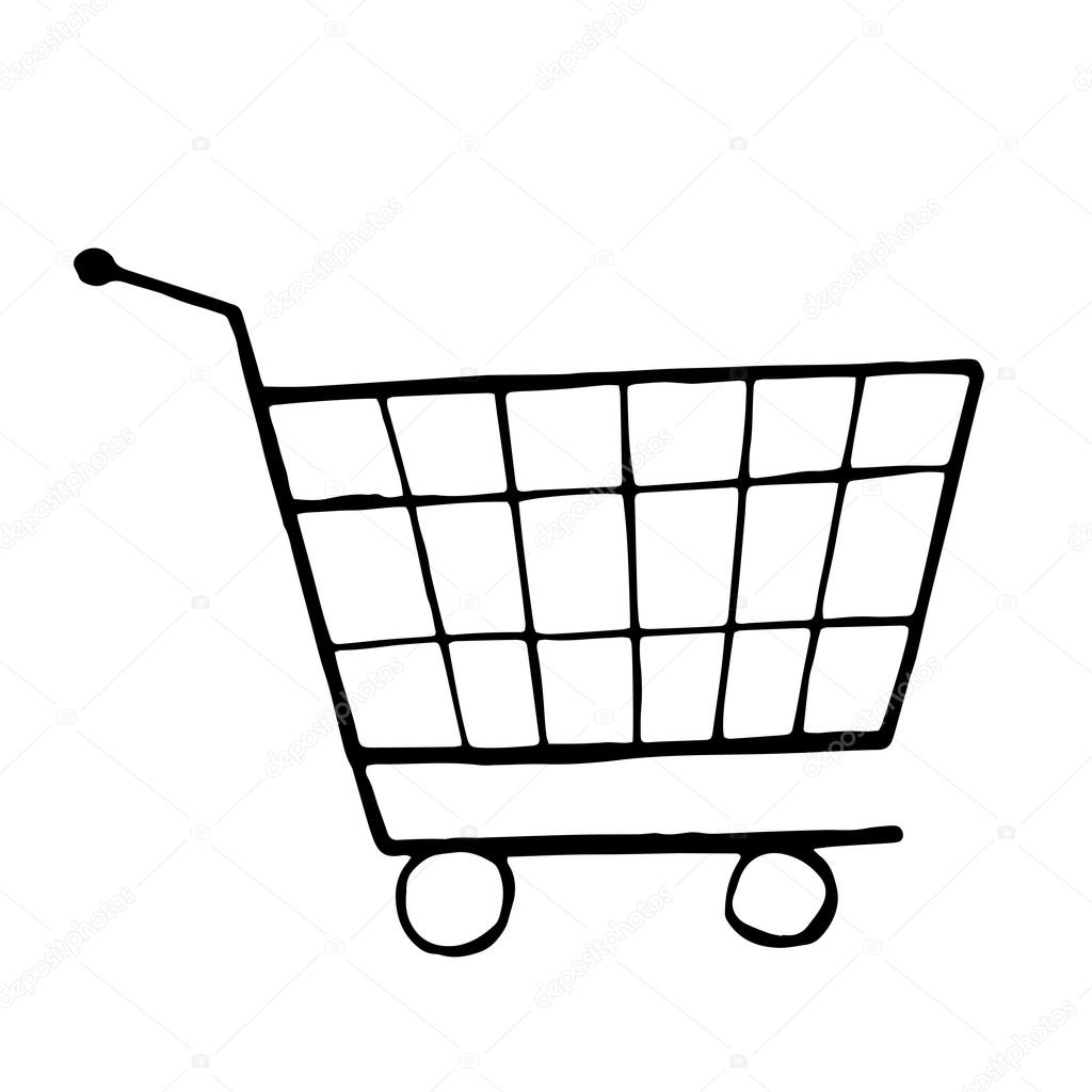 Doodle Drawing Of Shopping Trolley
