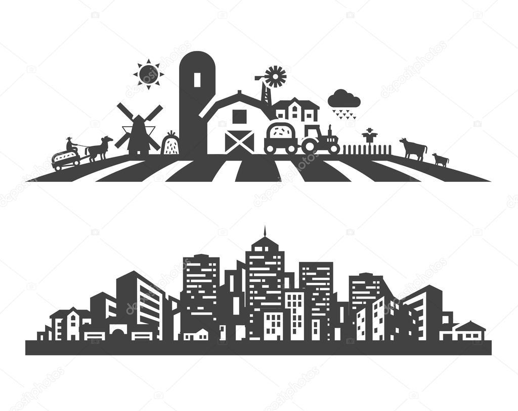 farm and city vector logo design template. gardening