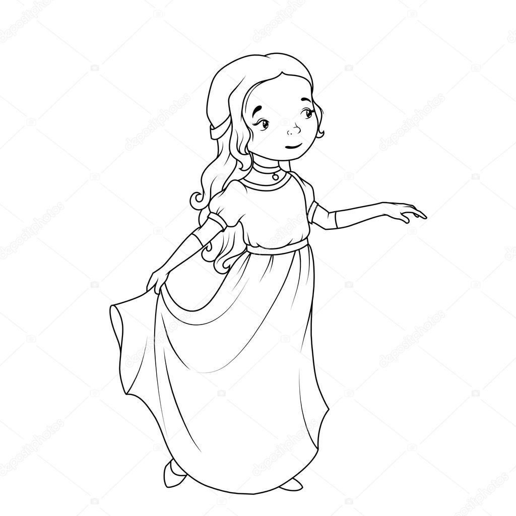 Libro Para Colorear Chica De Dibujos Animados Clasico
