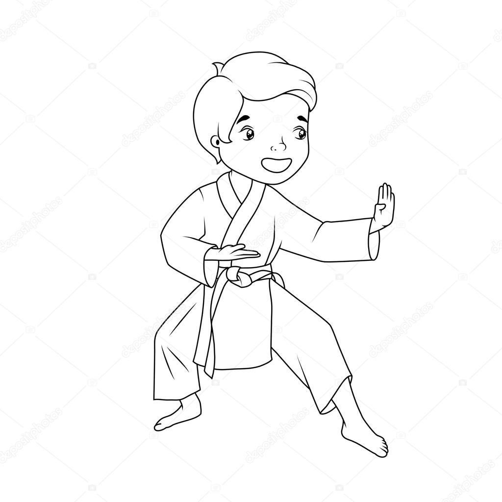 Coloring book: Little boy wearing kimono practicing karate