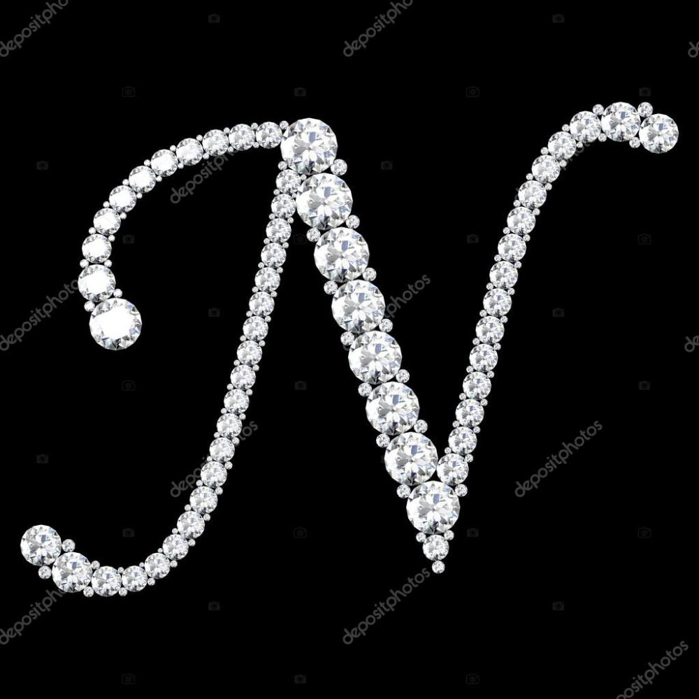 medium resolution of n letter made from diamonds and gems stock photo