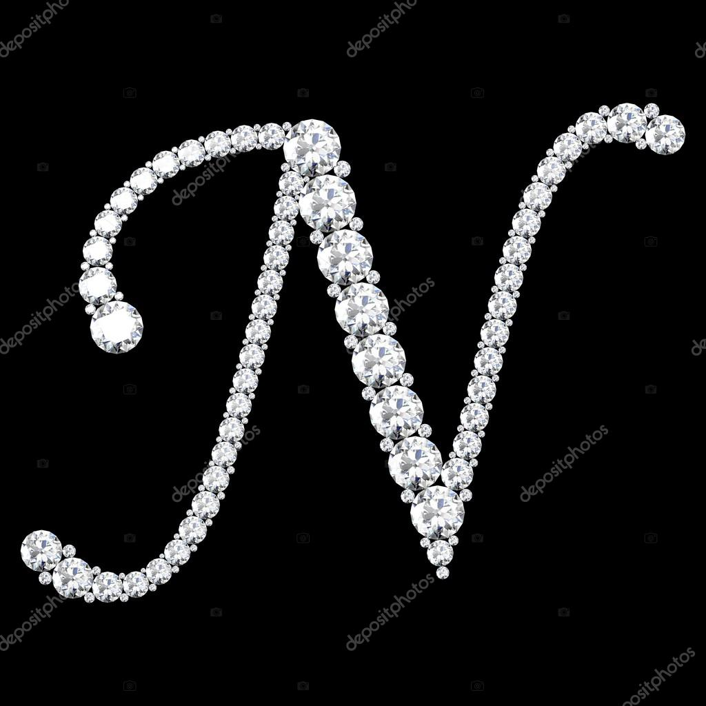 hight resolution of n letter made from diamonds and gems stock photo
