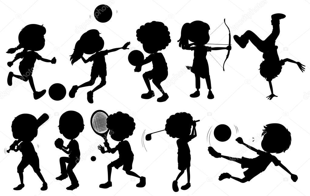 Barn ägnar sig åt olika sporter — Stock Vektor