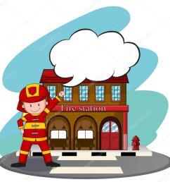 firemen working at the fire station stock vector [ 1024 x 1003 Pixel ]