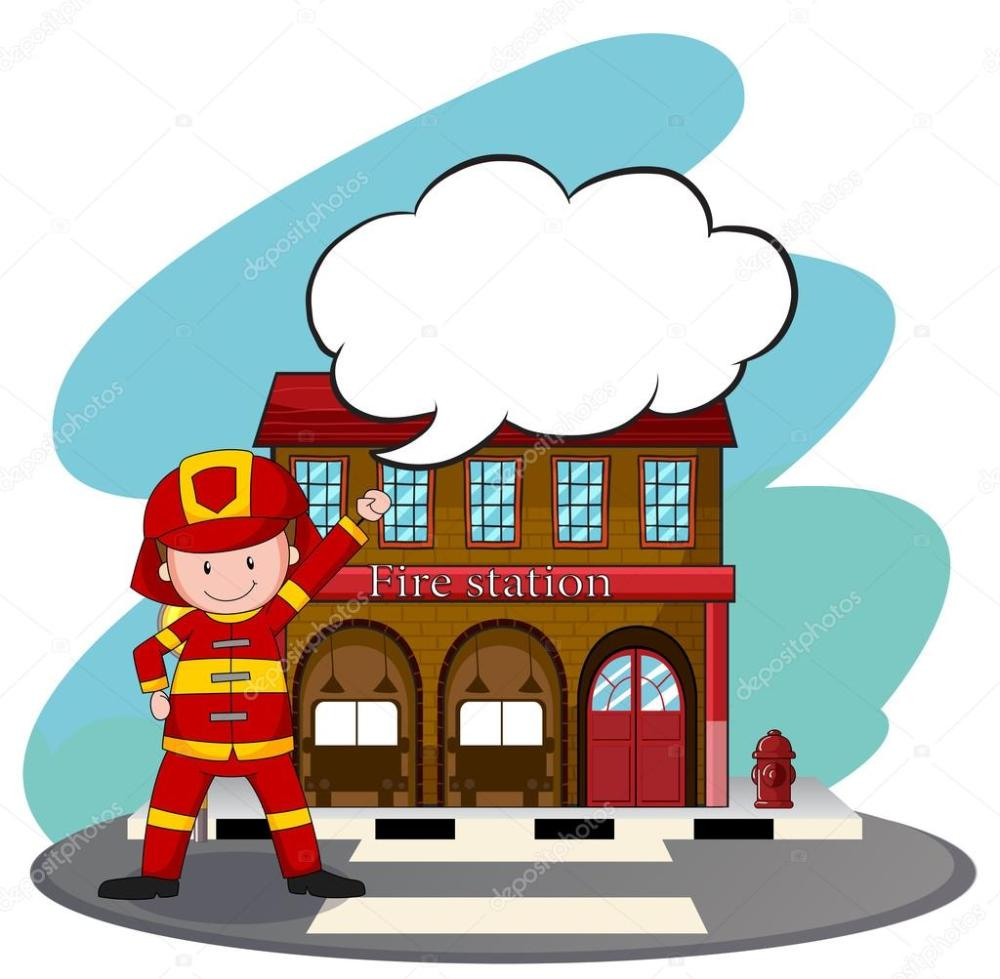 medium resolution of firemen working at the fire station stock vector