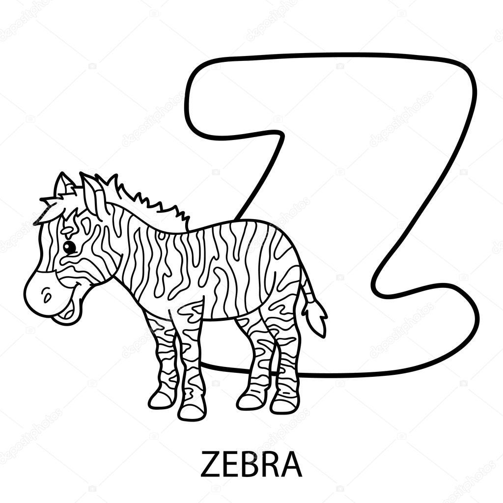 animal alphabet coloring page. — Stock Vector © boyusya
