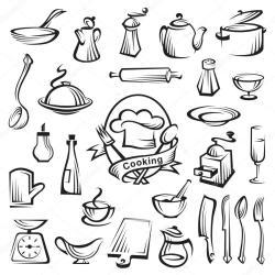 cocina utensilios colorear dibujos kitchenware vector dibujo chef met conjunto keukengerei hoed lepel vork kok pintar illustratie coloring ultra het