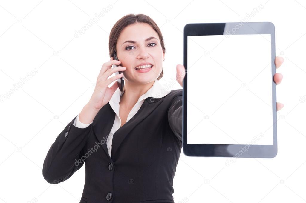 elegant sales woman showing