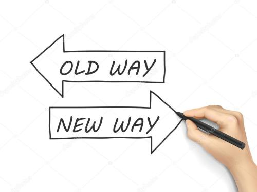 small resolution of old way or new way stock vector
