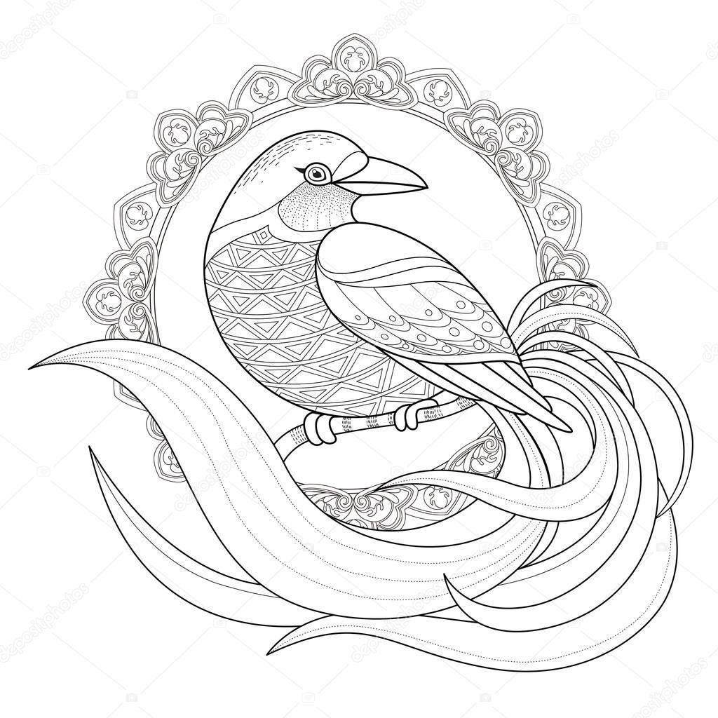 graceful bird coloring page — Stock Vector © kchungtw