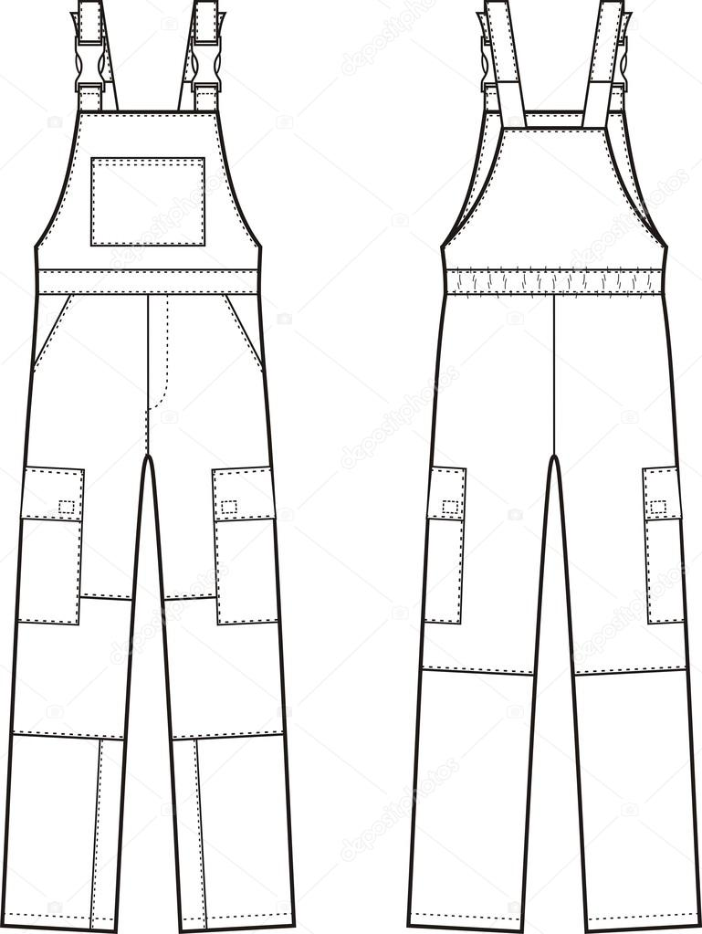 Work overalls. Front and back — Stock Vector © pushinka11
